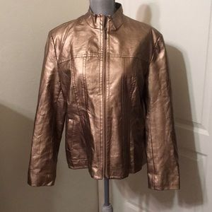Gold Faux Leather Jacket XL